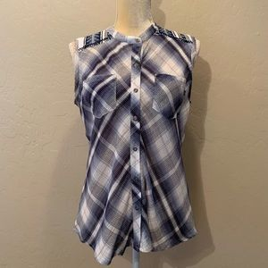 Miss Me Sleeveless Sheer Blue Plaid Buttoned Top
